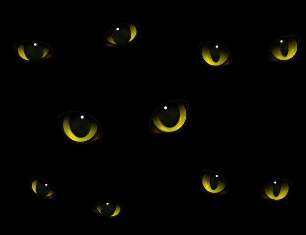 Yeux de chats dans l'obscurité réalistes