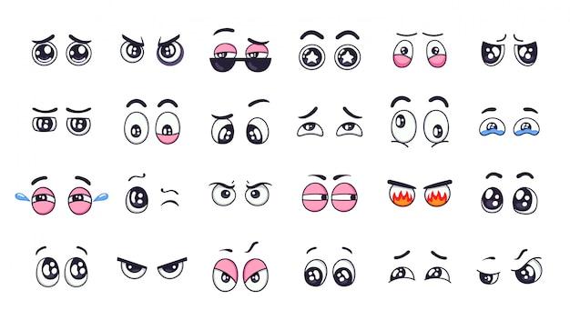 Yeux de dessin animé. yeux d'expression drôle comique avec diverses émotions, yeux qui pleurent, rire, ensemble d'illustration yeux clignotants en colère et mignon. éléments dessinés à la main, regards émotionnels, sites