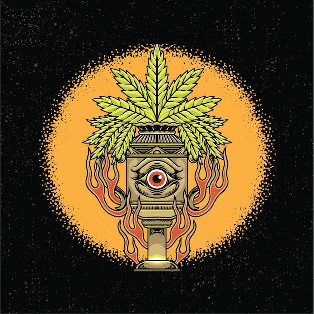 Des yeux dessinés à la main sur le pot et la marijuana avec un style de tatouage old school.