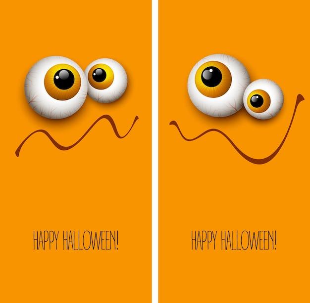 Yeux drôles de monstre de carte de voeux d'halloween. illustration vectorielle eps 10