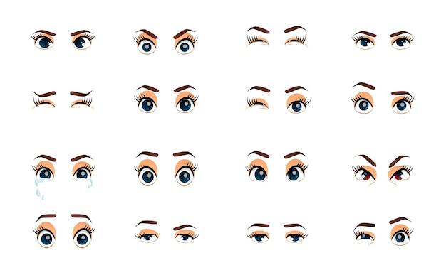 Yeux féminins de dessin animé illustration yeux agrandis de vecteur coloré