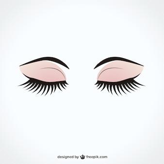 Les yeux fermés avec de longs cils