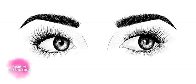 Les yeux, regardant de côté