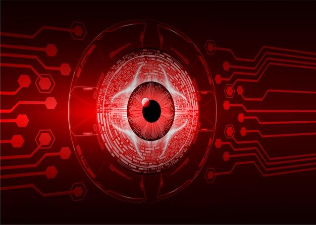 Yeux rouges, cyber, circuit, futur, technologie, concept, fond