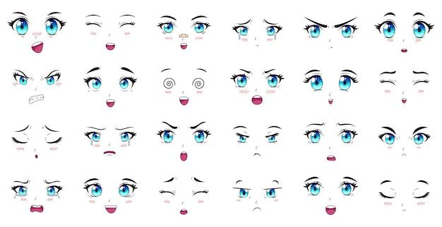 Yeux, sourcils et expressions de la bouche des personnages de dessins animés. les personnages féminins de manga font face à un ensemble d'illustrations vectorielles. personnages d'expressions de filles manga anime, émotion de visage de dessin animé