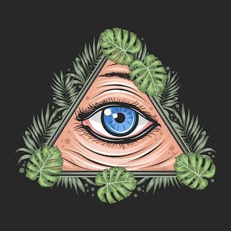 Yeux tropical leaf triangle illuminati freemason god artwork