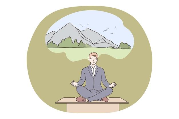 Yoga, détente, concept d'entreprise. chef d'entreprise homme d'affaires assis rêvant sur la table de travail fait du yoga au bureau en pensant aux vacances. relaxation repose sur le soulagement du stress au travail avec illustration de méditation.