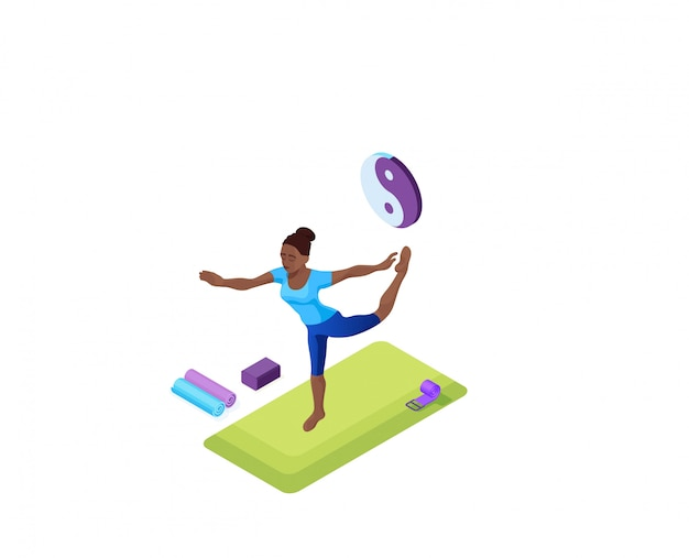 Yoga à domicile avec une femme africaine faisant des exercices de remise en forme physique