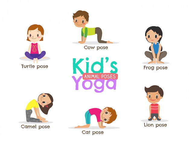 Yoga enfants pose illustration vectorielle