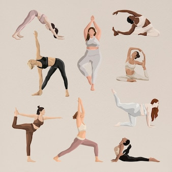 Le yoga esthétique pose le vecteur avec l'ensemble d'illustrations de santé et de corps