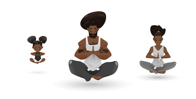 Yoga family character design set ambiance zen