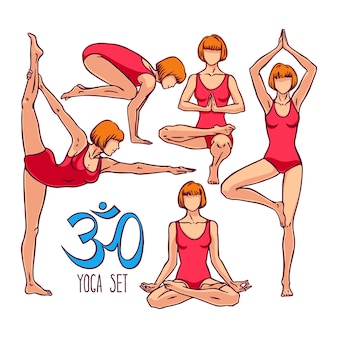 Yoga féminin. une collection de poses de yoga. illustration dessinée à la main