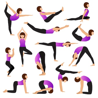 Yoga, femme, jeunes femmes, yogi, caractère, formation, flexible, exercice, pose, illustration, ensemble féminin, de, filles saines, mode de vie, séance d'entraînement, à, méditation, équilibre, relaxation, isolé, blanc