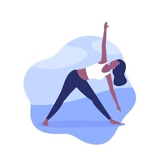 Yoga, femme en posture de triangle