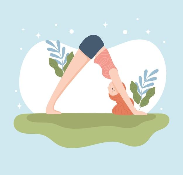 Yoga fille qui s'étend