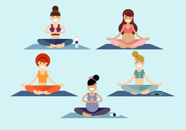 Yoga filles assises dans une pose facile de sukhasana