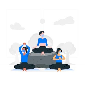 Yoga avec illustration de concept de masques faciaux