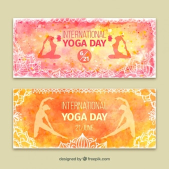 Yoga internatiomal bannières jour