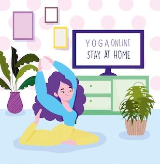 Yoga en ligne, girl stretching in floor yoga practicing character, computer