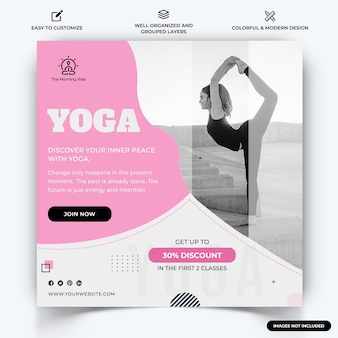 Yoga meditation instagram post web banner template vecteur vecteur premium