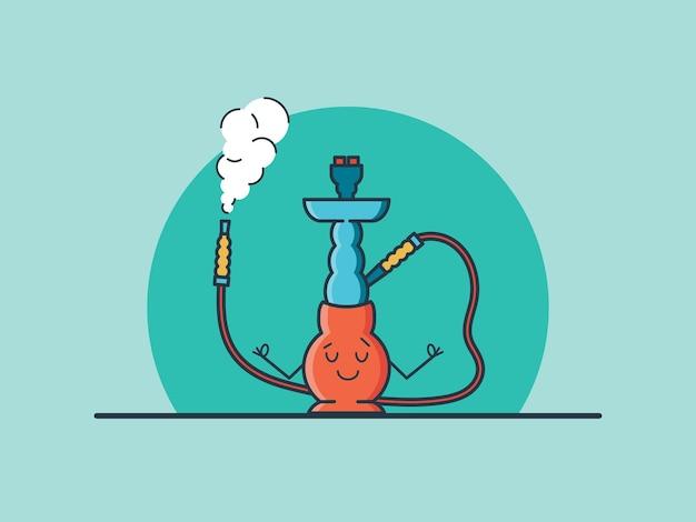 Yoga narguilé se détendre illustration colorée de vecteur