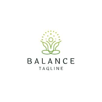 Yoga nature logo icône design modèle vecteur plat