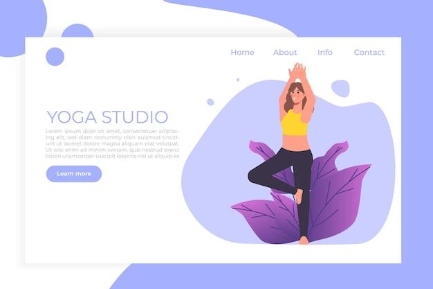 Yoga page de destination modèle web femme fait des exercices de yoga