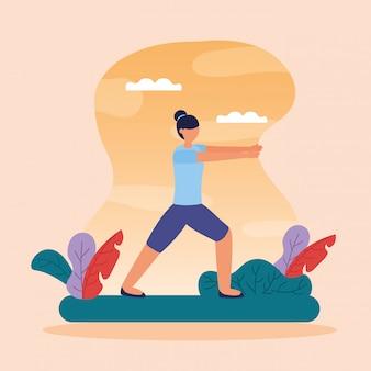 Yoga en plein air dans un style plat