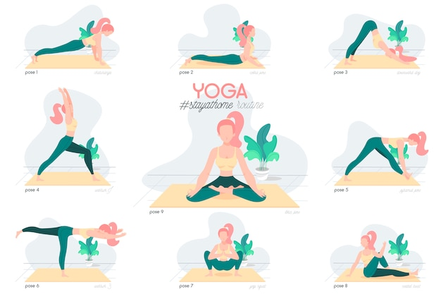 Yoga reste à la maison routine avec caractère