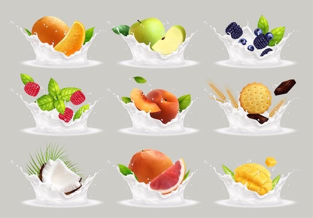 Le yogourt au lait de fruits éclabousse une collection réaliste de gouttes de yaourt blanc isolé et de fruits entiers avec des tranches