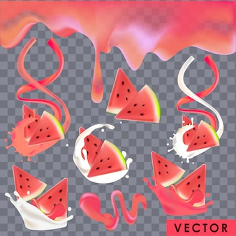 Yogourt et jus de pastèque réalistes