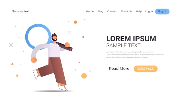 Young businessman holding loupe zoom loupe exploration recherche concept illustration horizontale pleine longueur