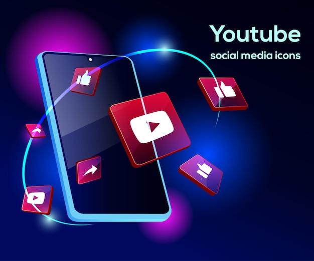 Youtube illsutration 3d avec smartphone sophistiqué et icônes