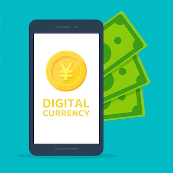Yuan numérique. devise numérique de la chine qui sera utilisée à la place de l'argent liquide à l'avenir.