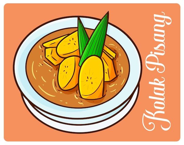 Yummy kolak pisang, un dessert du ramadan d'indonésie dans un style simple doodle