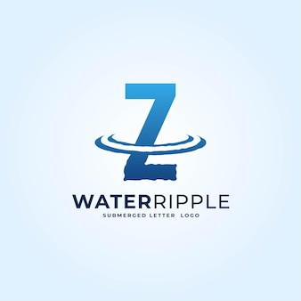 Z bleu dégradé lettre eau ondulation splash vague logo dynamique icône vecteur illustration