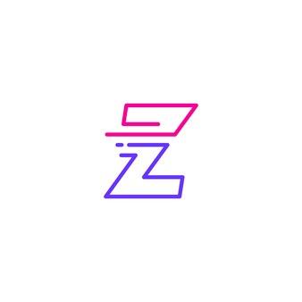 Z lettre dash minuscules tech numérique livraison rapide rapide mouvement ligne contour logo bleu monoline icône vector illustration