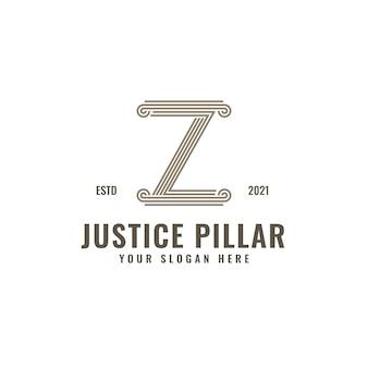 Z lettre logo droit et justice pilier élégant gras ligne géométrique art