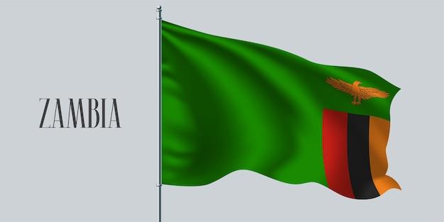 Zambie, agitant le drapeau sur l'illustration vectorielle de mât de drapeau. élément de conception rouge vert du drapeau réaliste ondulé zambien comme symbole du pays
