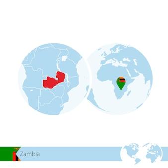 La zambie sur le globe terrestre avec le drapeau et la carte régionale de la zambie. illustration vectorielle.