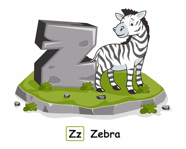 Zebra animals rock stone alphabet lettre z