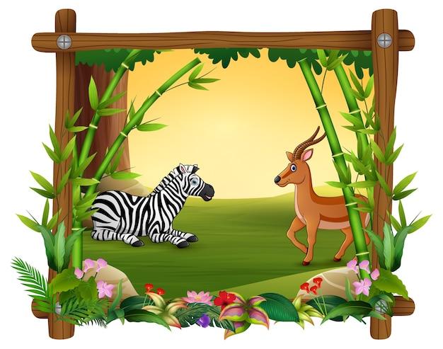 Zebra dan deer dans le cadre de la forêt