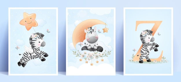 Zèbre mignon doodle avec collection florale