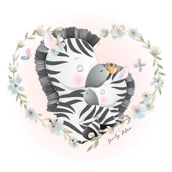 Zèbre mignon doodle avec illustration florale