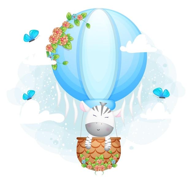 Zèbre mignon doodle volant dans le personnage de dessin animé de ballon à air