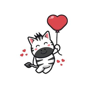 Zèbre mignon tenant illustration de personnage de dessin animé de ballon d'amour