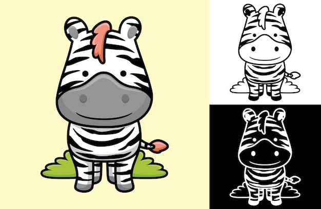 Zèbre souriant drôle. illustration de dessin animé dans le style d'icône plate