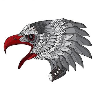 Zentangle stylisé tête d'aigle. illustration vectorielle