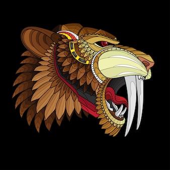 Zentangle stylisé tête de tigre à dents de sabre