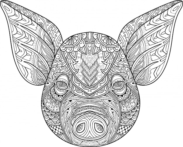 Zentangle stylisé vecteur de doodle de tête de cochon